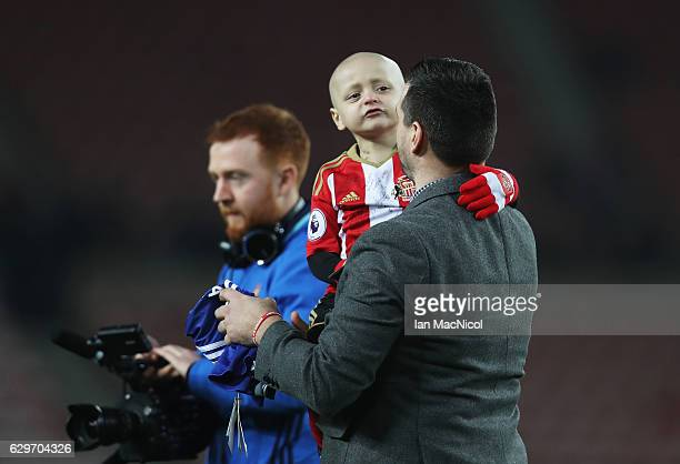 Bradley Lowrey is seen on the pitch during the warm ups during the Premier League match between Sunderland and Chelsea at Stadium of Light on...