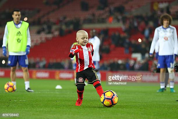 Bradley Lowrey kicks the ball in a warm uo prior to kick off during the Premier League match between Sunderland and Chelsea at Stadium of Light on...