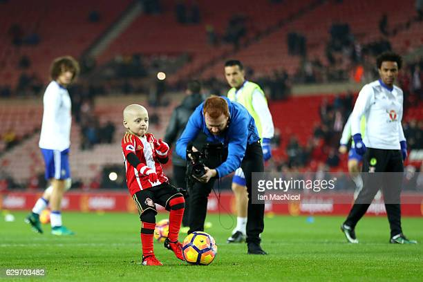 Bradley Lowrey kicks the ball in a warm up prior to kick off during the Premier League match between Sunderland and Chelsea at Stadium of Light on...