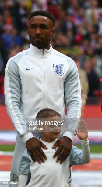 Bradley Lowrey with England's Jermain Defoe during FIFA World Cup Qualfying European Group F match between England against Lithuania at Wembley...