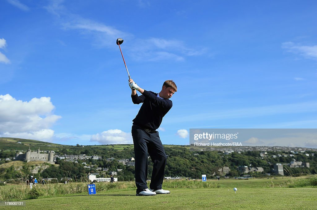 Bradley Moore of GB&I in action during the second day of the Jacques Leglise Trophy at Royal St David's Golf Club on August 31, 2013 in Harlech, Wales.
