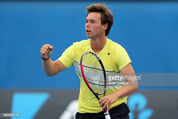 Bradley Mousley of Australia celebrates in his Junior Boys' Doubles Final match with Jay Andrijic of Australia against Maximilian Marterer of Germany...