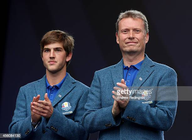Bradley Neil of the Europe Junior Ryder Cup team and captain team Stuart Wilson look on during the Opening Ceremony ahead of the 40th Ryder Cup at...