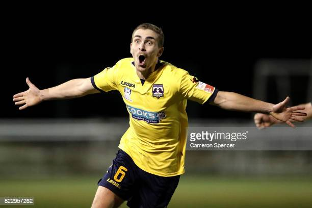 Bradley Robertson of Hills Brumbies celebrates kicking a goal during the FFA Cup round of 32 match between Hills United FC and Hakoah Sydney City...