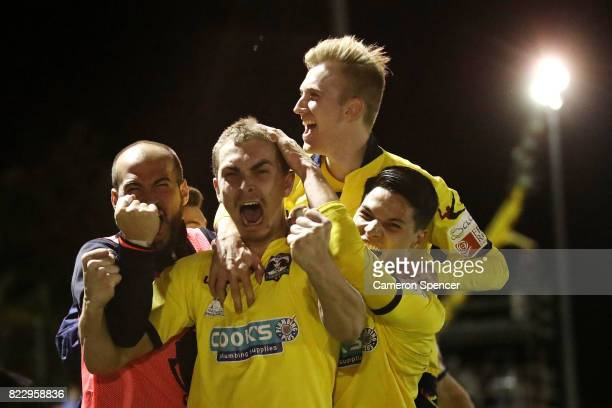 Bradley Robertson of Hills Brumbies celebrates scoring a goal with team mates during the FFA Cup round of 32 match between Hills United FC and Hakoah...