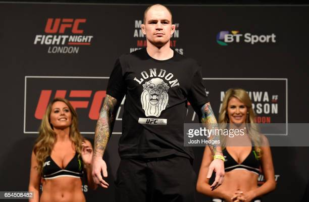 Bradley Scott of England poses on the scale during the UFC Fight Night weighin at The O2 arena on March 17 2017 in London England