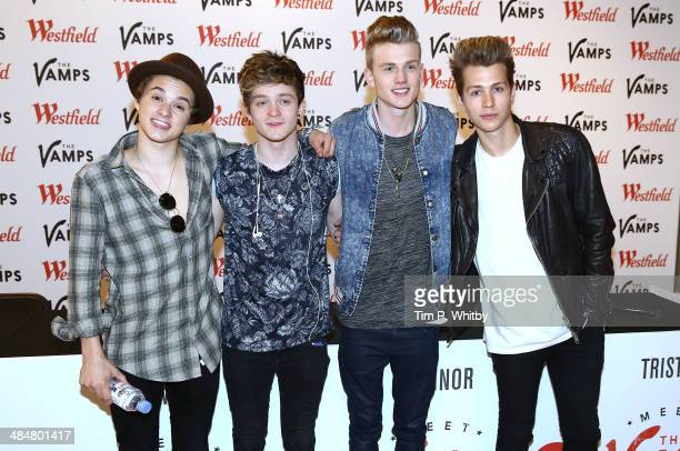 Bradley Simpson Connor Ball Tristan Evans and James McVey of The Vamps pose for a photo before a signing for fans at Westfield Stratford City on...