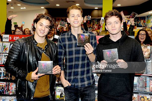 Bradley Simpson James McVey and Connor Ball of The Vamps meet fans and sign copies of their new single 'All Night' at HMV Sheffield on November 7...