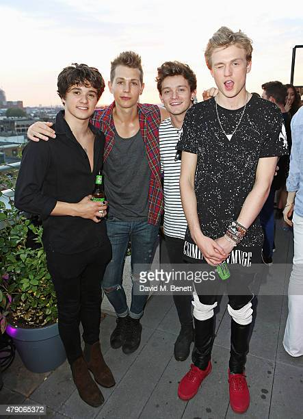 Bradley Simpson James McVey Connor Ball and Tristan Evans attend the Emporio Armani Diamonds Fragrance launch at The Ace Hotel on June 30 2015 in...
