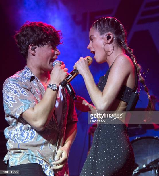 Bradley Simpson of The Vamps and Martina Stoessel perform at the Luna Park stadium on September 20 2017 in Buenos Aires Argentina