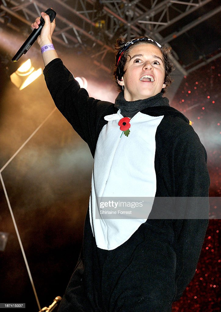 Bradley Simpson of The Vamps onstage at the switch on of the Manchester Christmas lights at Albert Square on November 8, 2013 in Manchester, England.
