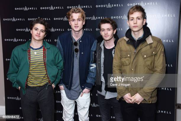 Bradley Simpson Tristan Evans Connor Ball and James McVey of The Vamps attend the UK gala screening of Ghost in the Shell on March 23 2017 in London...
