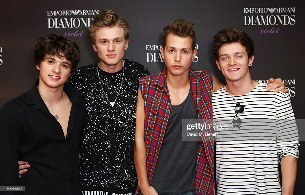 Bradley Simpson Tristan Evans James McVey and Connor Ball of The Vamps attend the Emporio Armani Diamonds Fragrance launch at The Ace Hotel on June...