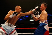 Bradley Skeete and Giuseppe Loriga in action during their WBA Intercontinental Welterweight Championship bout at The Copper Box on April 12 2014 in...
