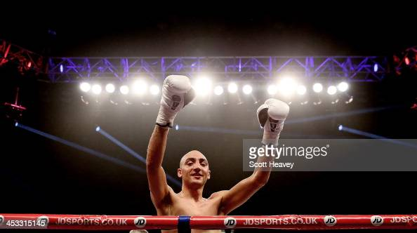 Bradley Skeete celebrates his victory over Colin Lynes during their Vacant English Welterweight bout at The Copper Box on November 30 2013 in London...