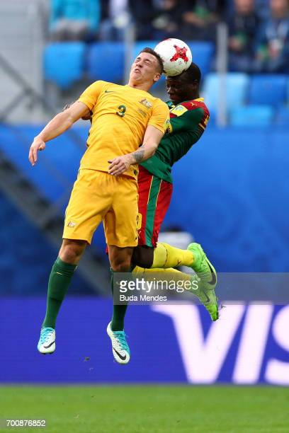 Bradley Smith of Australia battles with Vincent Aboubakar of Cameroon during the FIFA Confederations Cup Russia 2017 Group B match between Cameroon...