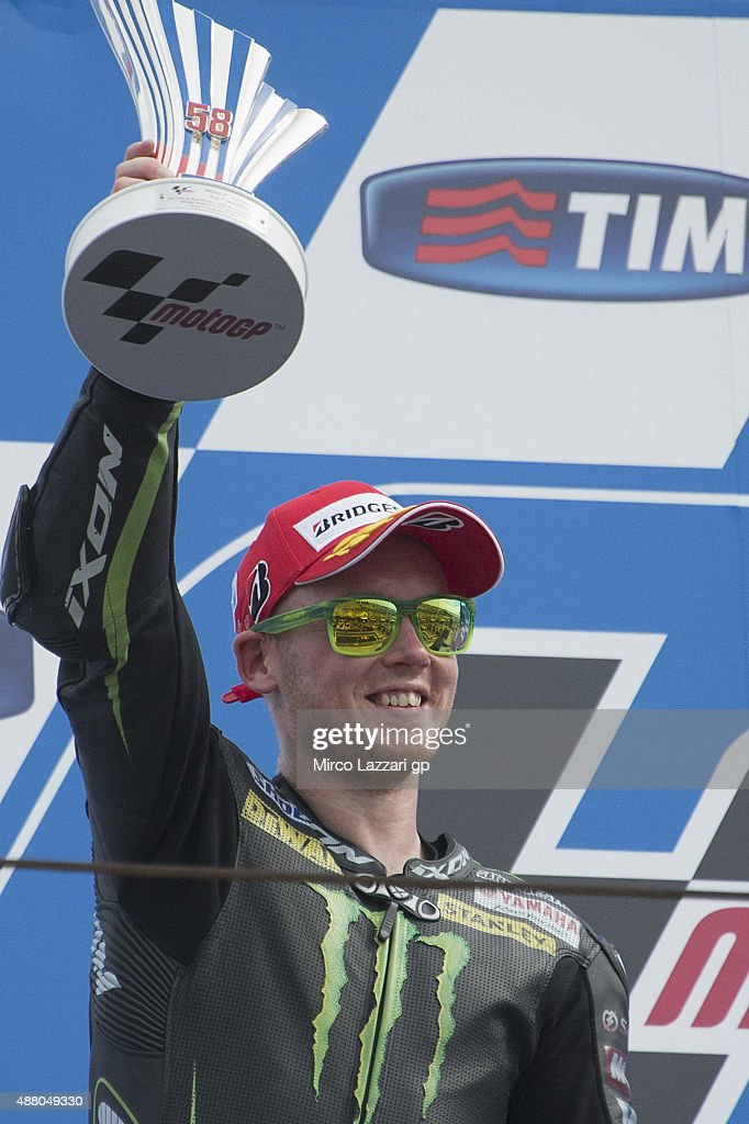 <a gi-track='captionPersonalityLinkClicked' href=/galleries/search?phrase=Bradley+Smith+-+Motorcyclist&family=editorial&specificpeople=5349000 ng-click='$event.stopPropagation()'>Bradley Smith</a> of Great Britain and Monster Yamaha Tech 3 celebrates the second place on the podium after the MotoGP World Championship race during the San Marino GP at Misano World Circuit on September 13, 2015 in Misano Adriatico, Italy.
