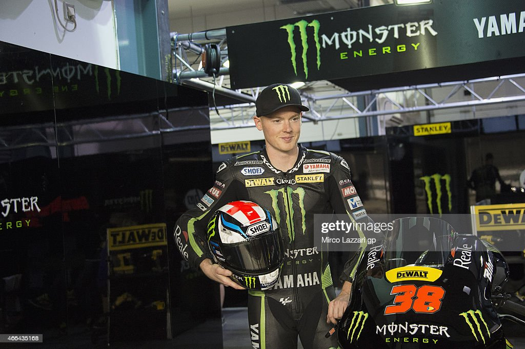 <a gi-track='captionPersonalityLinkClicked' href=/galleries/search?phrase=Bradley+Smith+-+Motorcyclist&family=editorial&specificpeople=5349000 ng-click='$event.stopPropagation()'>Bradley Smith</a> of Great Britain and Monster Yamaha Tech 3 poses in box with the helmet during the MotoGP Tests in Qatar - Day Two at Losail Circuit on March 15, 2015 in Doha, Qatar.