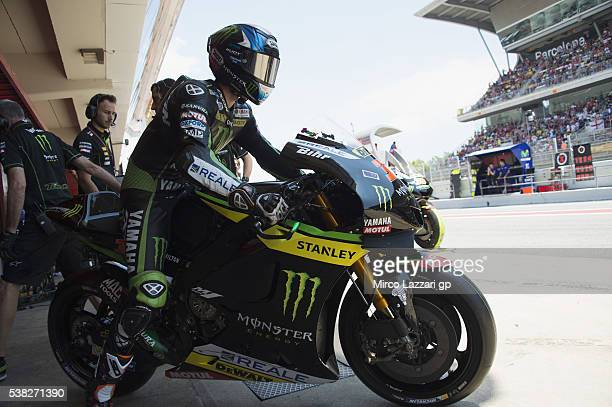 Bradley Smith of Great Britain and Monster Yamaha Tech 3 prepares to start from box before the MotoGP race during the MotoGp of Catalunya Race at...