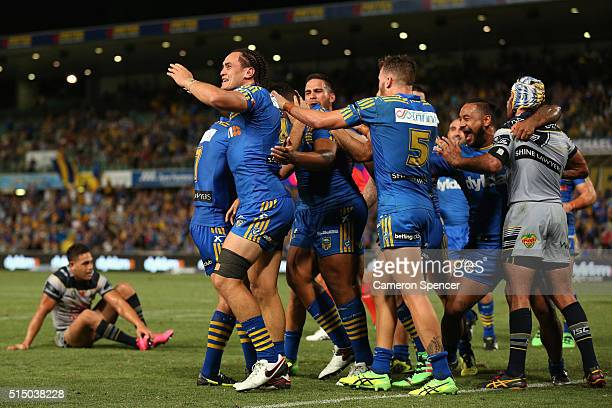 Bradley Takairangi of the Eels celebrates scoring a try during the round two NRL match between the Parramatta Eels and the North Queensland Cowboys...