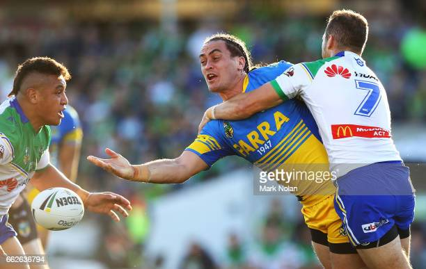 Bradley Takairangi of the Eels offloads during the round five NRL match between the Canberra Raiders and the Parramatta Eels at GIO Stadium on April...