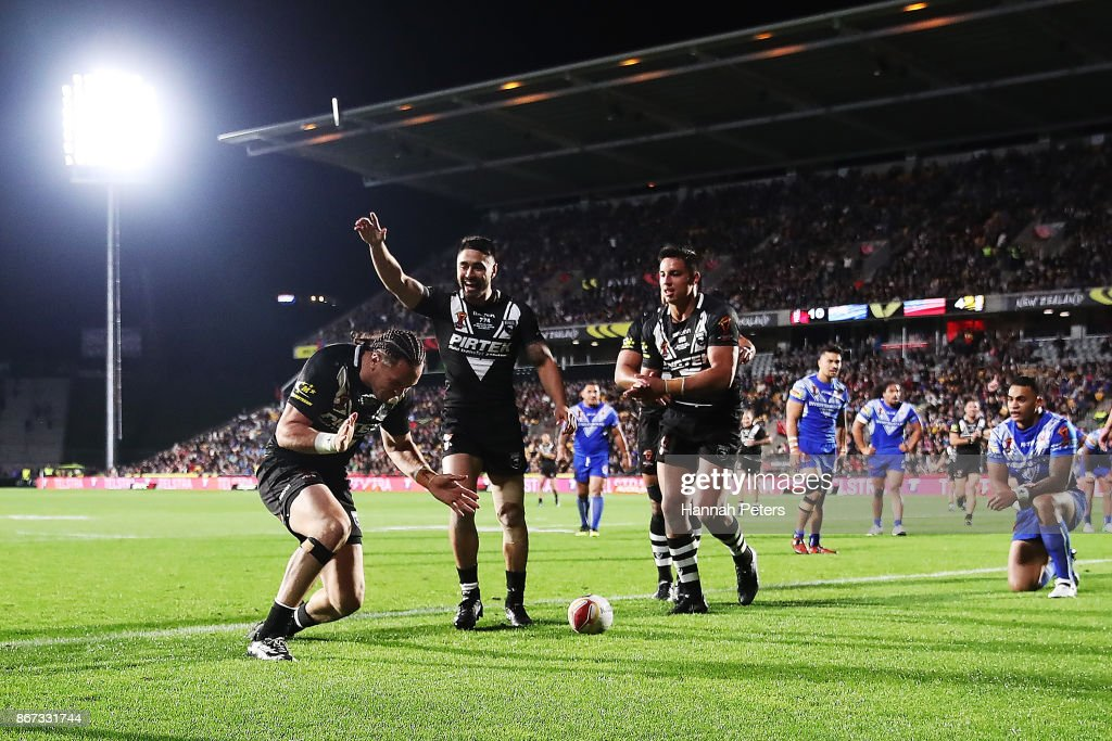 Bradley Takairangi of the Kiwis celebrates after scoring a try during the 2017 Rugby League World Cup match between the New Zealand Kiwis and Samoa at Mt Smart Stadium on October 28, 2017 in Auckland, New Zealand.