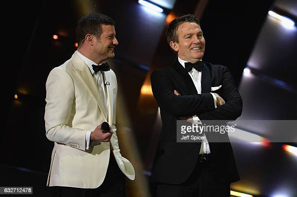 Bradley Walsh and Dermot O'Leary on stage at the National Television Awards at The O2 Arena on January 25 2017 in London England