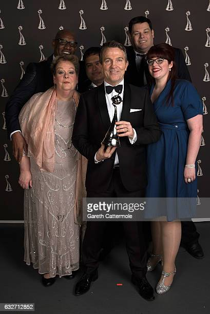 Bradley Walsh and the team of The Chase with the Best Daytime Award at the National Television Awards at The O2 Arena on January 25 2017 in London...