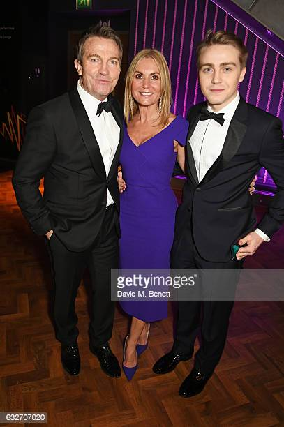 Bradley Walsh Donna Derby and Barney Walsh attend the National Television Awards cocktail reception at The O2 Arena on January 25 2017 in London...