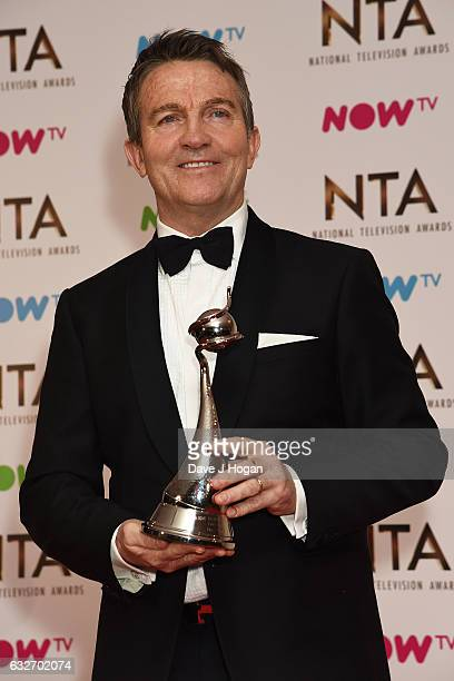 Bradley Walsh poses in the winners room at the National Television Awards at The O2 Arena on January 25 2017 in London England