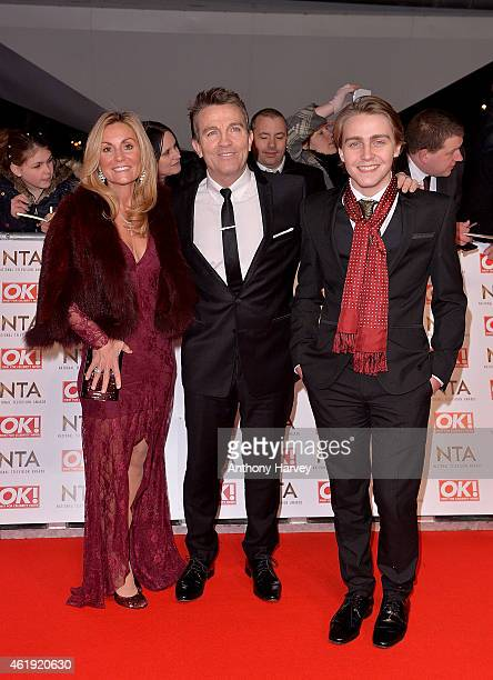 Bradley Walsh wife Donna Derby and son Barney Walsh attend the National Television Awards at 02 Arena on January 21 2015 in London England