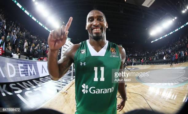 Bradley Wanamaker #11 of Darussafaka Dogus Istanbul celebrates victory during the 2016/2017 Turkish Airlines EuroLeague Regular Season Round 24 game...
