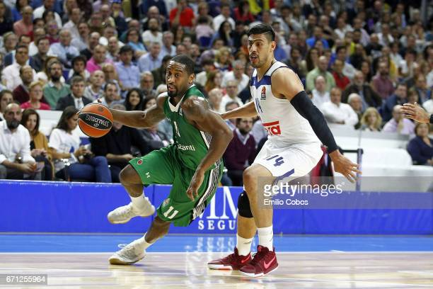 Bradley Wanamaker #11 of Darussafaka Dogus Istanbul in action during the 2016/2017 Turkish Airlines EuroLeague Playoffs leg 2 game between Real...