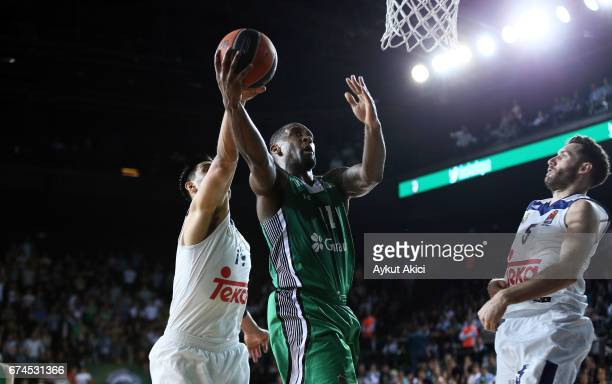 Bradley Wanamaker #11 of Darussafaka Dogus Istanbul in action during the 2016/2017 Turkish Airlines EuroLeague Playoffs leg 4 game between...