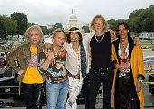 Bradley Whitford Joey Kramer Steven Tyler Tom Hamilton and Joe Perry of Aerosmith