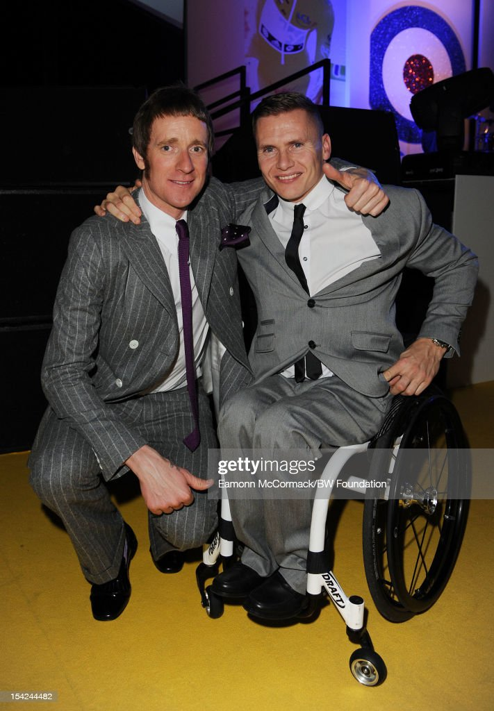 <a gi-track='captionPersonalityLinkClicked' href=/galleries/search?phrase=Bradley+Wiggins&family=editorial&specificpeople=182490 ng-click='$event.stopPropagation()'>Bradley Wiggins</a> and David Weir attends the <a gi-track='captionPersonalityLinkClicked' href=/galleries/search?phrase=Bradley+Wiggins&family=editorial&specificpeople=182490 ng-click='$event.stopPropagation()'>Bradley Wiggins</a> Foundation 'The Yellow Ball' event at The Roundhouse on October 16, 2012 in London, England. The dinner and entertainment show was held to celebrate the historic achievements of Great Britain's cyclist <a gi-track='captionPersonalityLinkClicked' href=/galleries/search?phrase=Bradley+Wiggins&family=editorial&specificpeople=182490 ng-click='$event.stopPropagation()'>Bradley Wiggins</a> in 2012, including his Tour de France win and Olympic gold achievements. The Foundation aims to promote participation in sport, to encourage young people to exercise regularly, and to support athletes from all sports to take their talent to the next level.