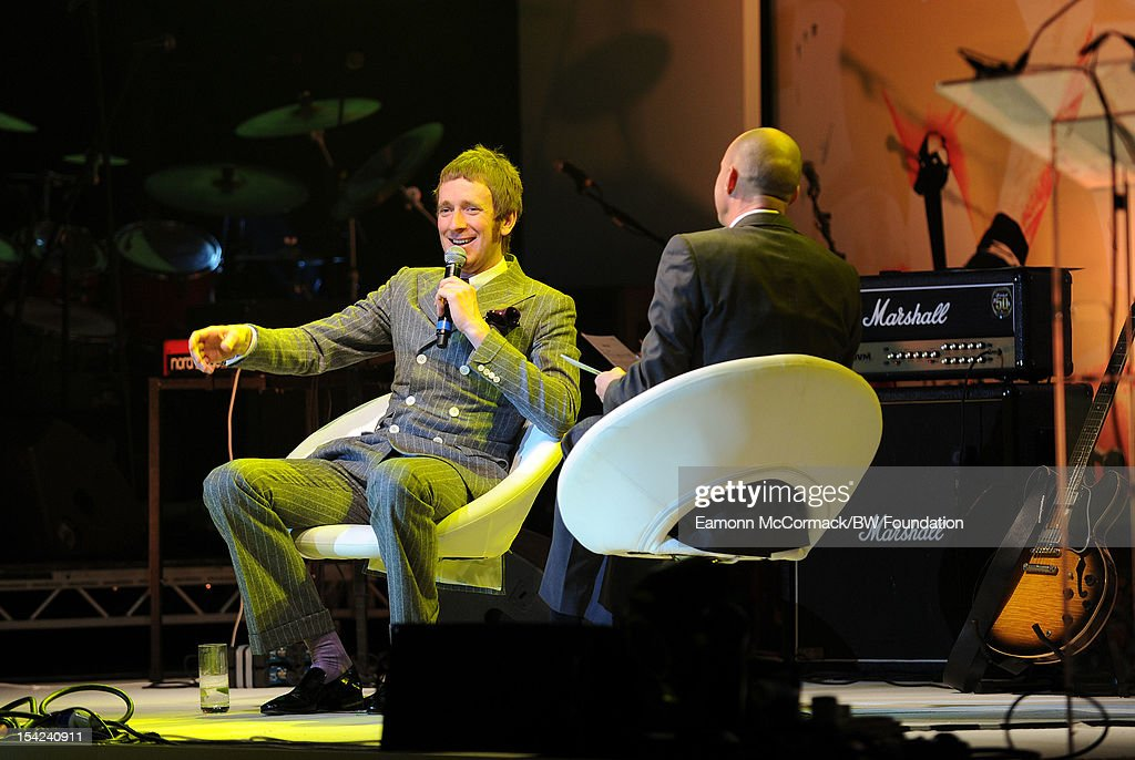 Bradley Wiggins and Johnny Vaughan as they attends the Bradley Wiggins Foundation 'The Yellow Ball' event at The Roundhouse on October 16, 2012 in London, England. The dinner and entertainment show was held to celebrate the historic achievements of Great Britain's cyclist Bradley Wiggins in 2012, including his Tour de France win and Olympic gold achievements. The Foundation aims to promote participation in sport, to encourage young people to exercise regularly, and to support athletes from all sports to take their talent to the next level.