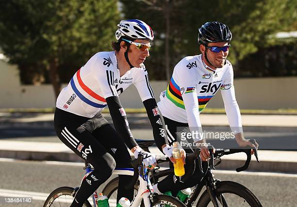 Bradley Wiggins chats with Mark Cavendish during a preseason Team SKY training camp in Puerto Alcudia on January 23 2012 in Mallorca Spain