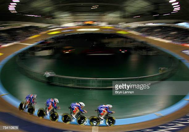 Bradley Wiggins Edward Clancy Rob Hayle and Paul Manning of Great Britain in action in qualifying for the Team Pursuit during the UCI Track Cycling...
