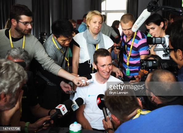 Bradley Wiggins of Great Britain and SKY Procycling chats to the media during a team press conference ahead of the 2012 Tour de France on June 29...