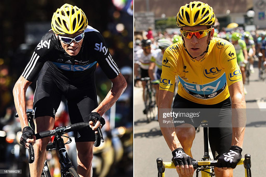 In this composite image a comparison has been made between Sir <a gi-track='captionPersonalityLinkClicked' href=/galleries/search?phrase=Bradley+Wiggins&family=editorial&specificpeople=182490 ng-click='$event.stopPropagation()'>Bradley Wiggins</a> (R) and Christopher Froome of Team SKY Procycling and Great Britain. Original image IDs are 147995629 (L) and 149114835. PARIS, FRANCE - JULY 22: <a gi-track='captionPersonalityLinkClicked' href=/galleries/search?phrase=Bradley+Wiggins&family=editorial&specificpeople=182490 ng-click='$event.stopPropagation()'>Bradley Wiggins</a> of Great Britain and SKY Procycling in action during the twentieth and final stage of the 2012 Tour de France, from Rambouillet to the Champs-Elysees on July 22, 2012 in Paris, France.