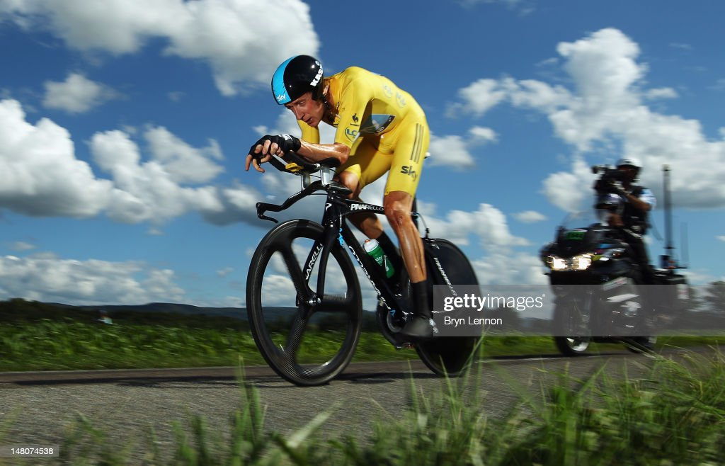 Bradley Wiggins of Great Britain and SKY Procycling in action on his way to winning stage nine of the 2012 Tour de France a 415km individual time...