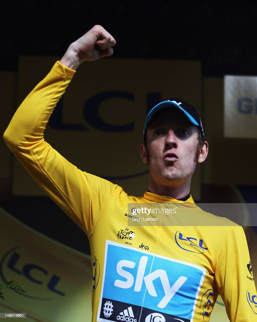Bradley Wiggins of Great Britain and SKY Procycling in retained his yellow jersey after winning stage nine of the 2012 Tour de France, a 41.5km individual time trial, from Arc-et-Senans to Besancon on July 9, 2012 in Besancon, France.