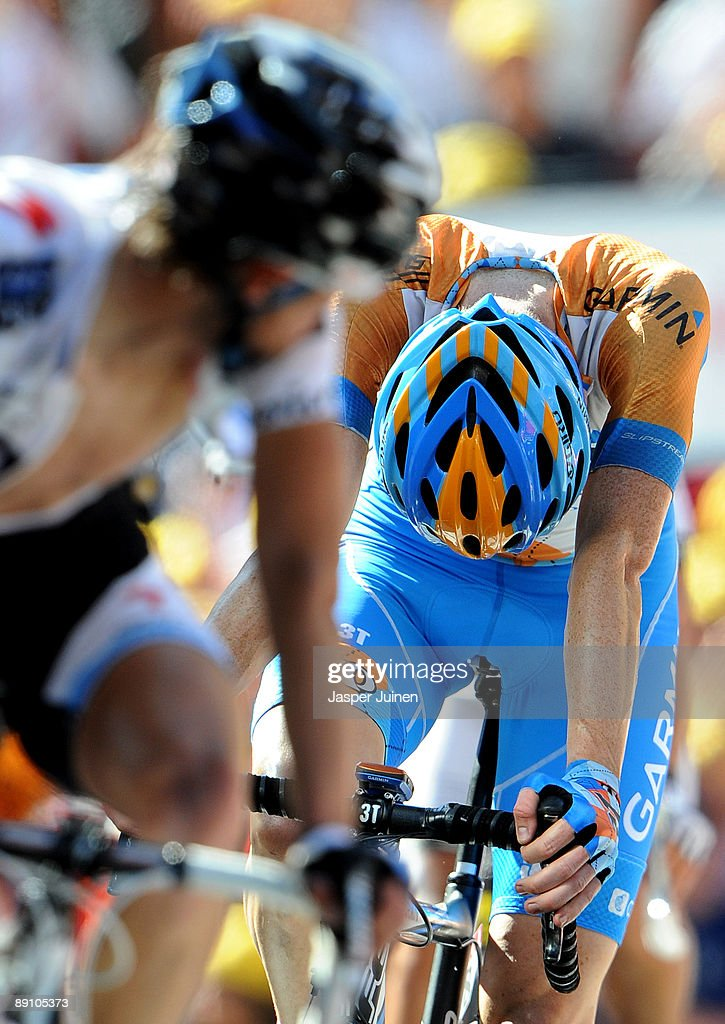 Bradley Wiggins of Great Britain and team Garmin - Slipstream hangs his head as he crosses the finishline at the end of stage 15 of the 2009 Tour de France from Pontarlier to Verbier on July 19, 2009 in Verbier, Switzerland.