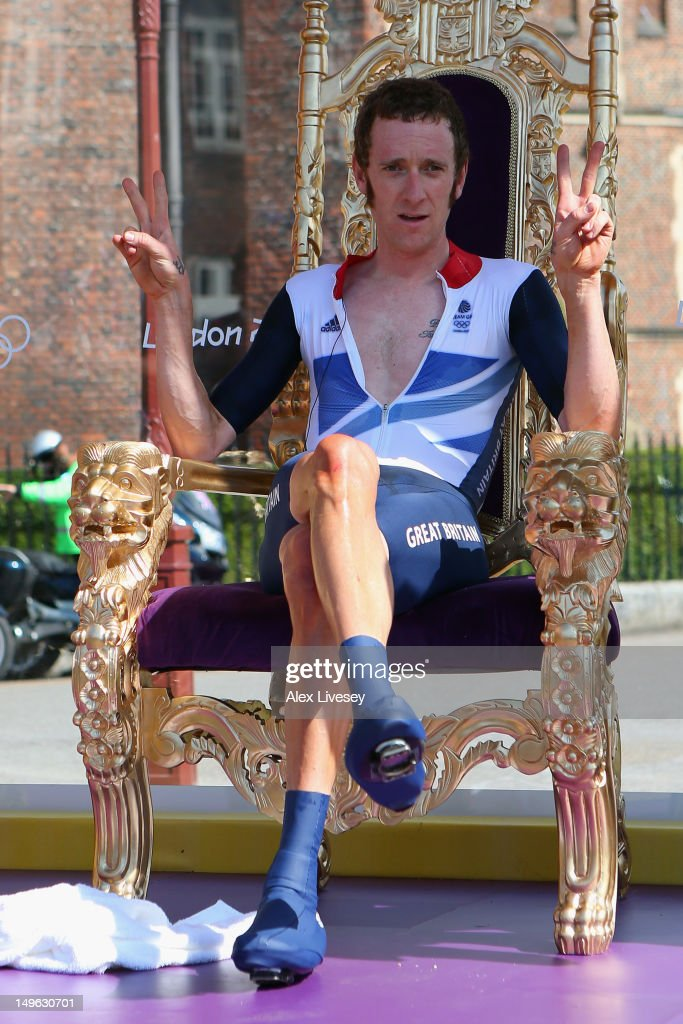 <a gi-track='captionPersonalityLinkClicked' href=/galleries/search?phrase=Bradley+Wiggins&family=editorial&specificpeople=182490 ng-click='$event.stopPropagation()'>Bradley Wiggins</a> of Great Britain celebrates after the Men's Individual Time Trial Road Cycling on day 5 of the London 2012 Olympic Games on August 1, 2012 in London, England.
