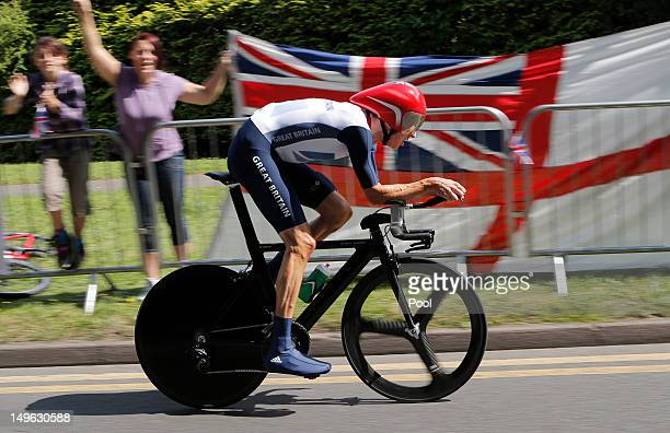 Bradley Wiggins of Great Britain competes in the Men's Individual Time Trial Road Cycling on day 5 of the London 2012 Olympic Games on August 1 2012...