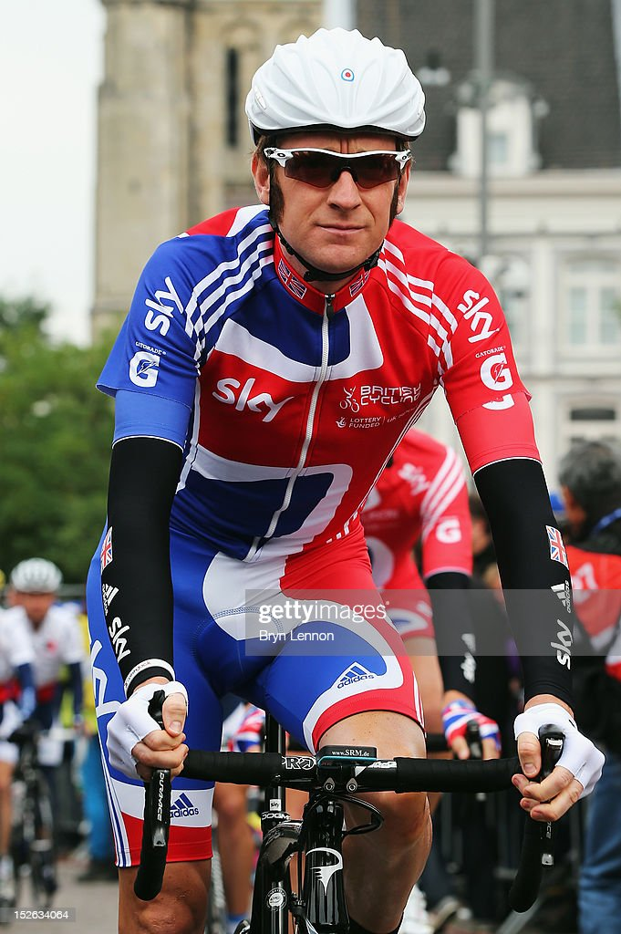 Bradley Wiggins of Great Britain lines up at the start of the Men's Elite Road Race on day eight of the UCI Road World Championships on September 23, 2012 in Maastricht, Netherlands.