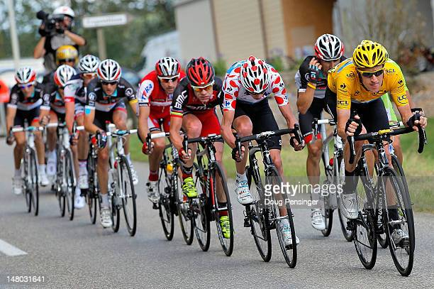 Bradley Wiggins of Great Britain riding for Sky Procycling does a turn on the front of the group in the final kilometers as he defended the race...