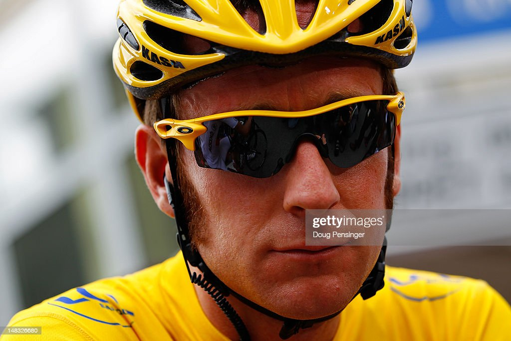 <a gi-track='captionPersonalityLinkClicked' href=/galleries/search?phrase=Bradley+Wiggins&family=editorial&specificpeople=182490 ng-click='$event.stopPropagation()'>Bradley Wiggins</a> of Great Britain riding for Sky Procycling in the race leader's yellow jersey prepares for the start of stage twelve of the 2012 Tour de France from Saint-Jean de Maurienne to Annonay on July 13, 2012 in Saint-Jean de Maurienne, France.