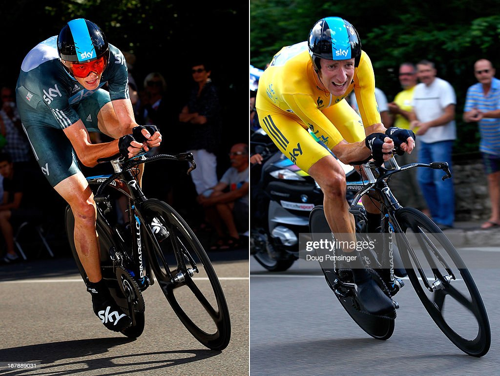 In this composite image a comparison has been made between Sir <a gi-track='captionPersonalityLinkClicked' href=/galleries/search?phrase=Bradley+Wiggins&family=editorial&specificpeople=182490 ng-click='$event.stopPropagation()'>Bradley Wiggins</a> (R) and Christopher Froome of Team SKY Procycling and Great Britain. Original image IDs are 148071774 (L) and 148071769. BESANCON, FRANCE - JULY 09: <a gi-track='captionPersonalityLinkClicked' href=/galleries/search?phrase=Bradley+Wiggins&family=editorial&specificpeople=182490 ng-click='$event.stopPropagation()'>Bradley Wiggins</a> of Great Britain riding for Sky Procycling rides to first place in the individual time trial and defended the race leader's yellow jersey in stage nine of the 2012 Tour de France from Arc-et-Senans to Besancon on July 9, 2012 in Besancon, France.